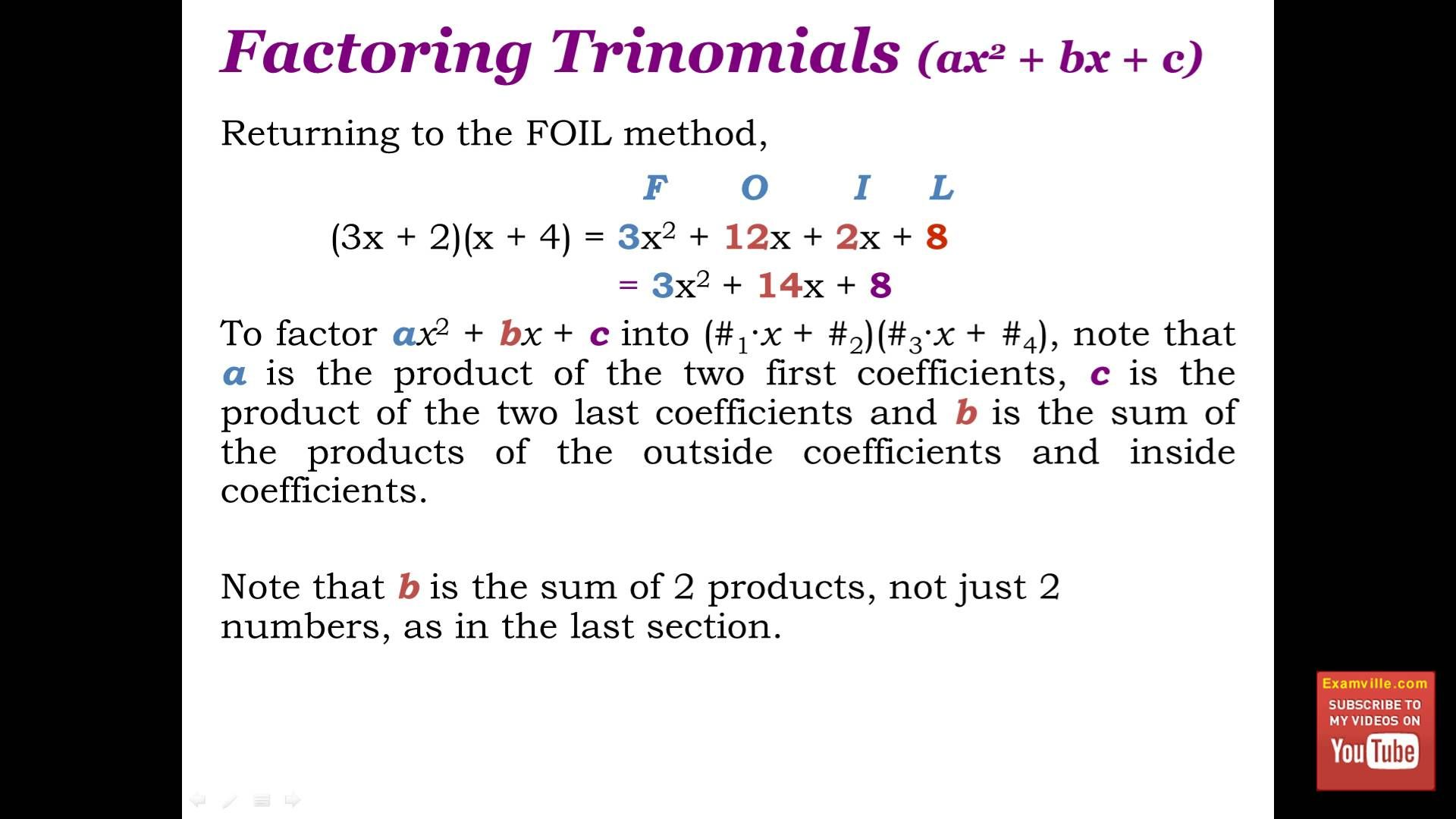 Factoring Polynomials Quick Math Review Polynomials