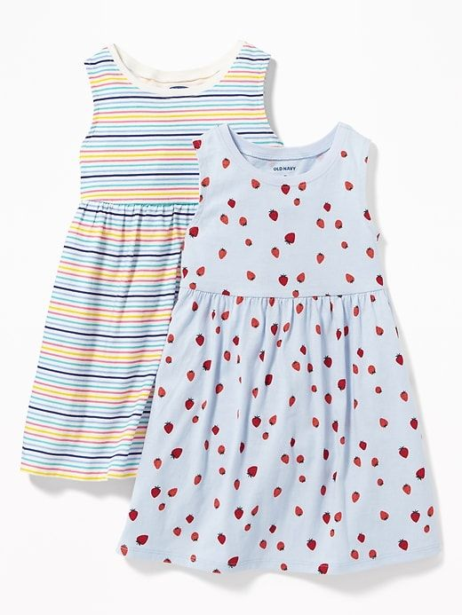 c8438c282 Old Navy Toddlers' 2-Pack Printed Sleeveless Fit & Flare Dress  Strawberries/Stripes Size 18-24 M