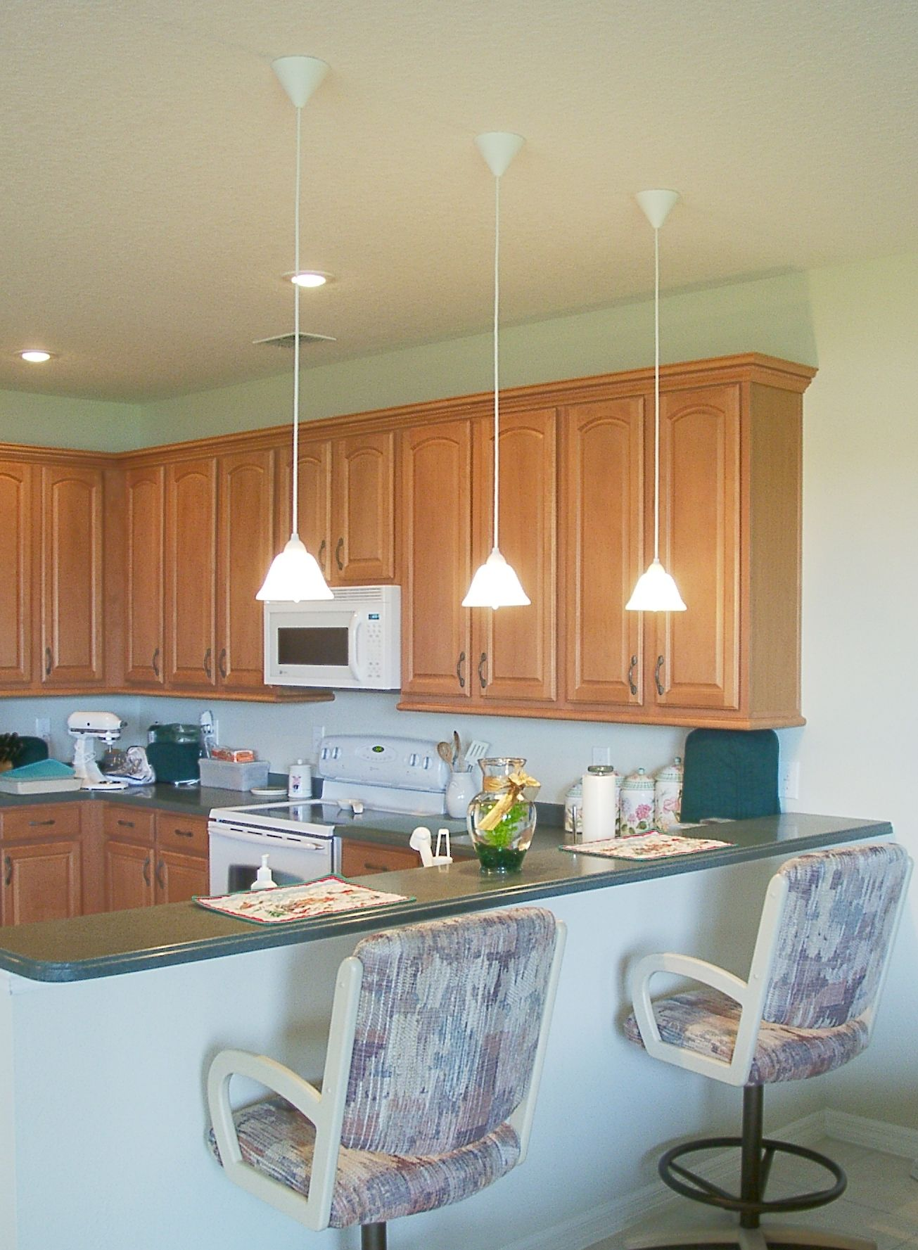 kitchen counter lighting table base hang lights over home ideas