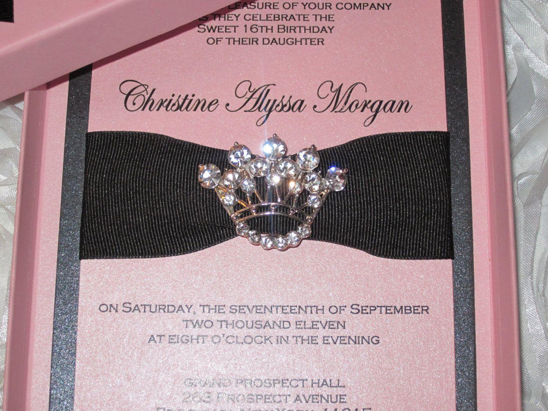 Sweet Sixteen Invitation Princess Crown Invitation Bat Mitzvah