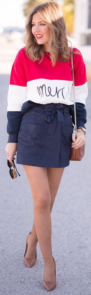 Shein Merci Sweatshirt, Zara Navy Skirt, Zara handbag, mango Heels | Mi Aventura Con La Moda