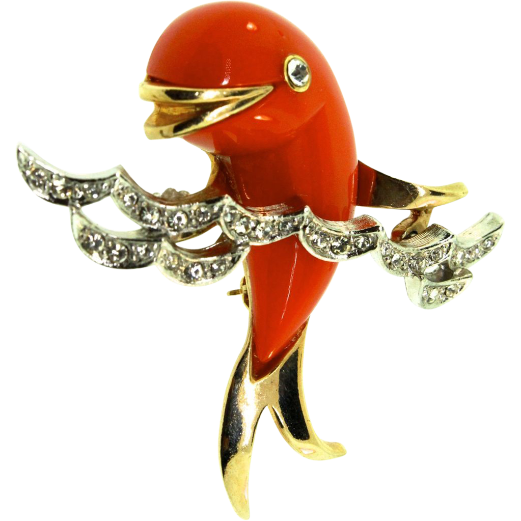 BOUCHER Tangerine Lucite Dolphin in the Pave Rhinestone Waves Figural Brooch Pin
