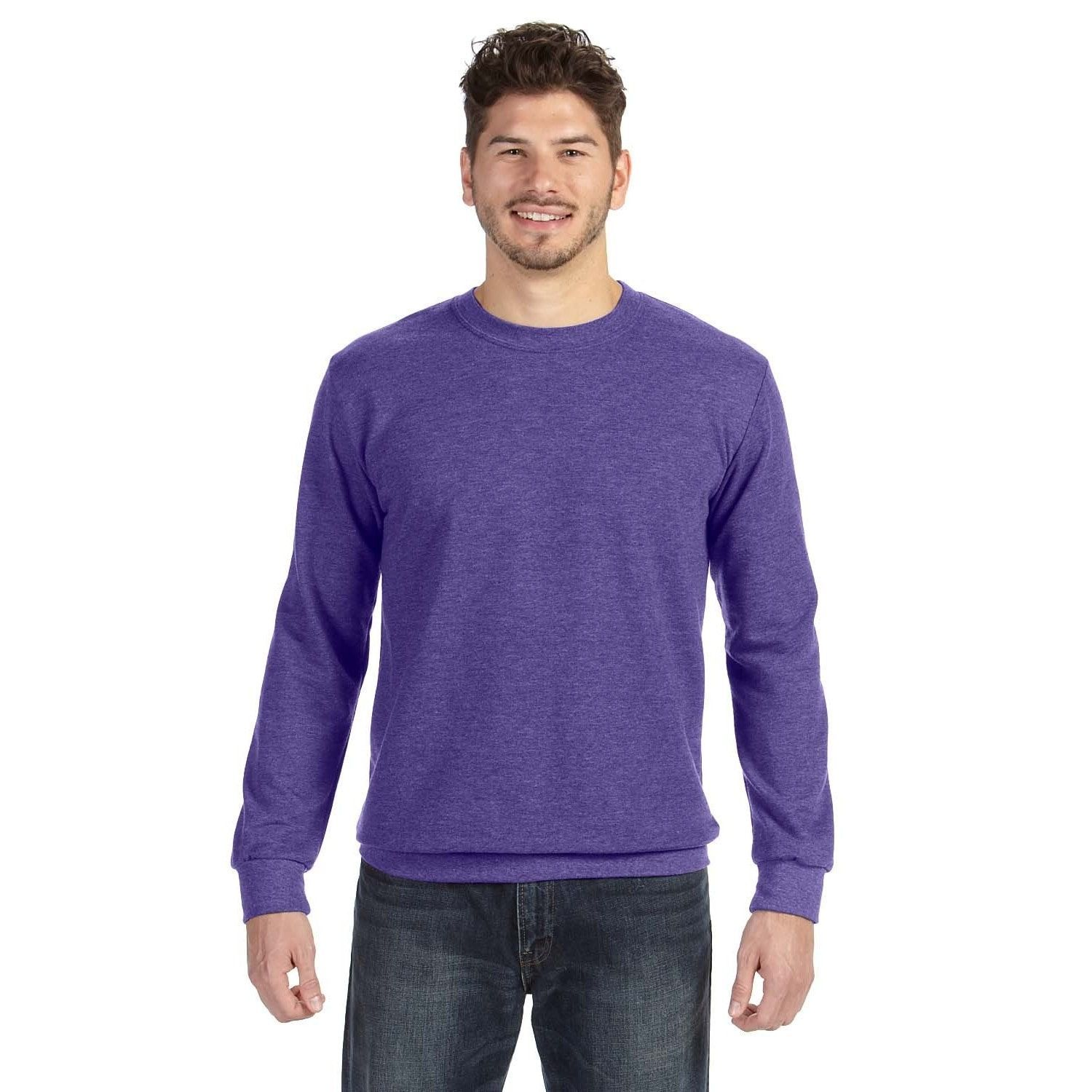 Adult Crew-Neck Men's French Terry Heather Sweater | Products ...