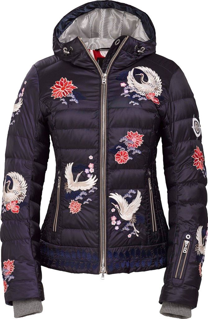 1425bcf2d5 Bogner Ava-D down ski jacket has beautiful cranes and flowers on the front