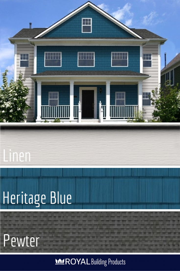 Feeling Blue So Are We And It Feels Great Heritage Blue Portsmouth Cedar Shingles Linen Haven Insulated Siding Blue Siding Building Siding House Exterior