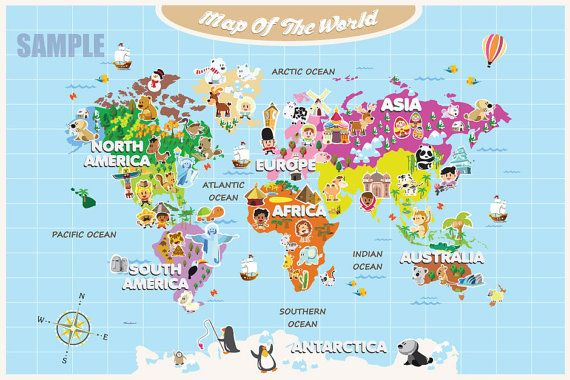 Personalized Laminated World Map For Kids Cute By Funmapsforkids