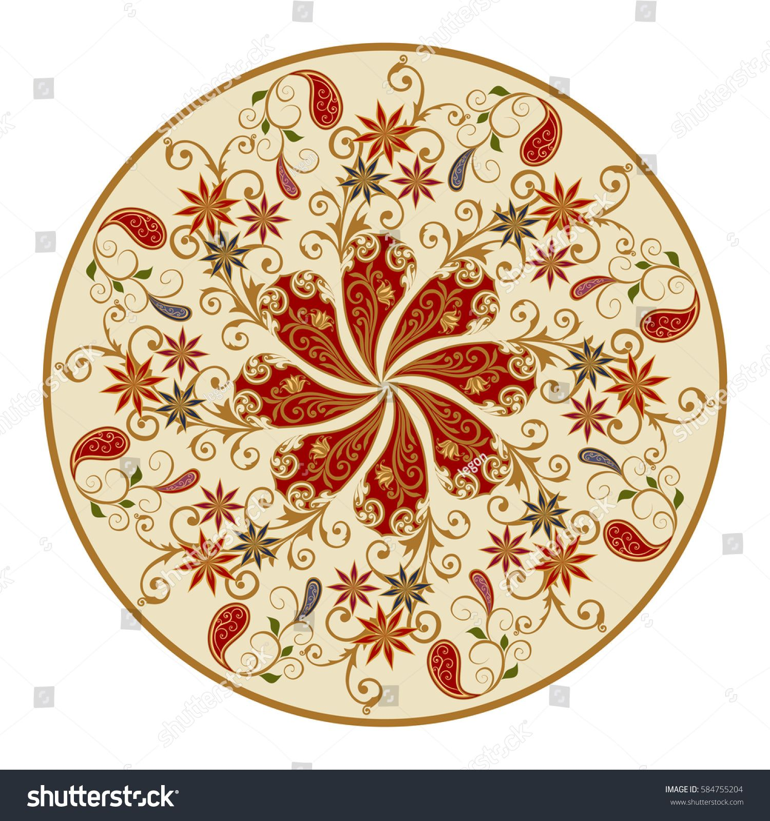 Decorative floral ornament in east style mandala vector design