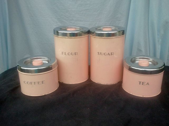 pink kitchen canister set a gorgeous vintage pink canister set vintage kitchen 21281