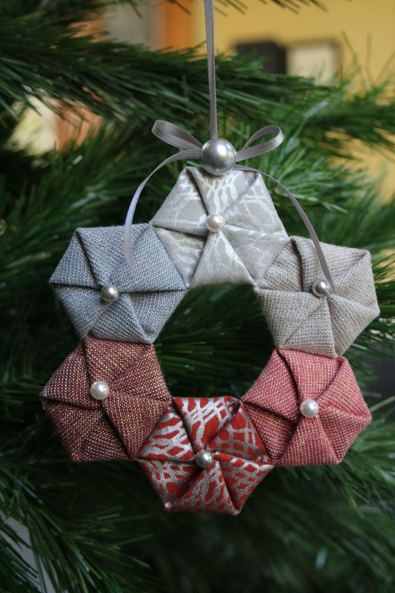 Hexie Wreathe Fabric Christmas Ornaments Quilted Christmas Ornaments Christmas Ornaments