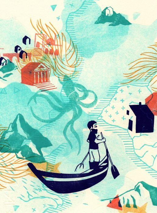 Heureux Qui Comme Ulysse Illustration : heureux, comme, ulysse, illustration, Heureux, Comme, Ulysse, Illustration,, Linogravure,, Illustration, Graphique