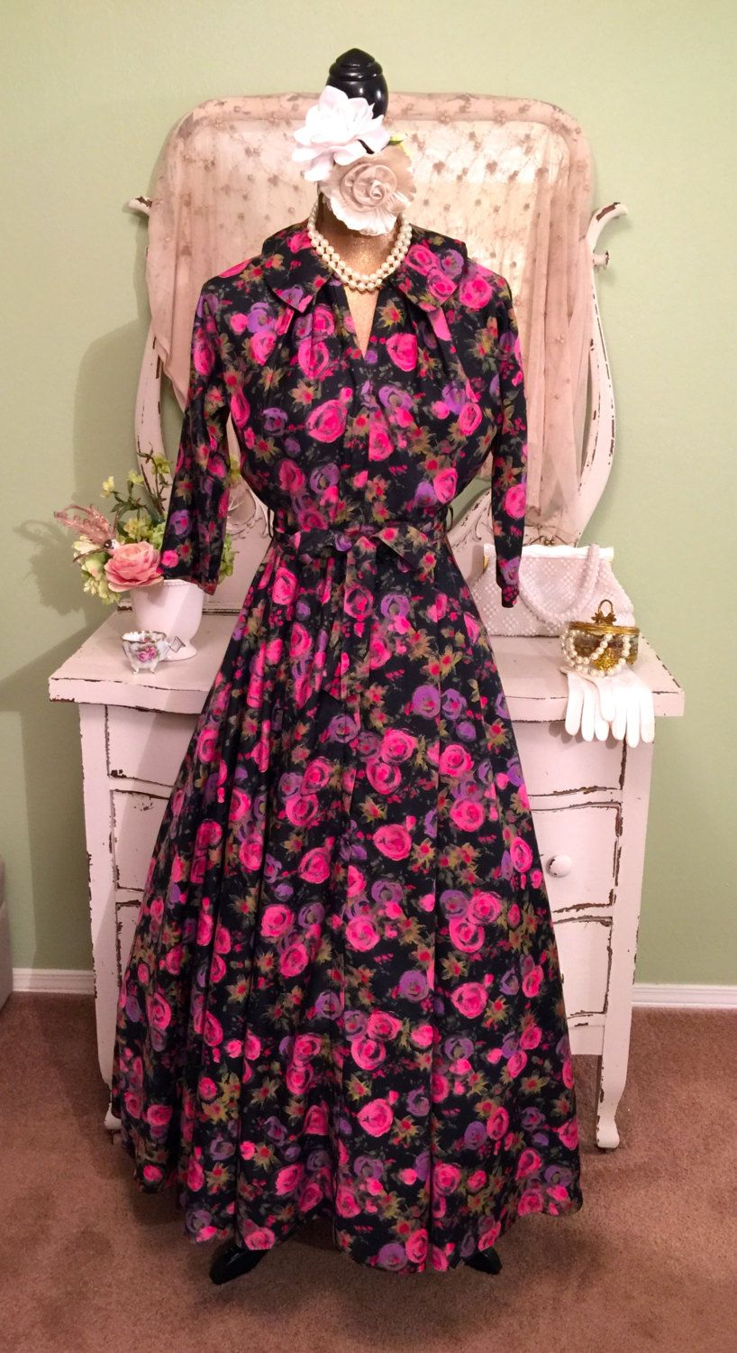 4002b8146aab1 Vintage 50s Long Floral Dress