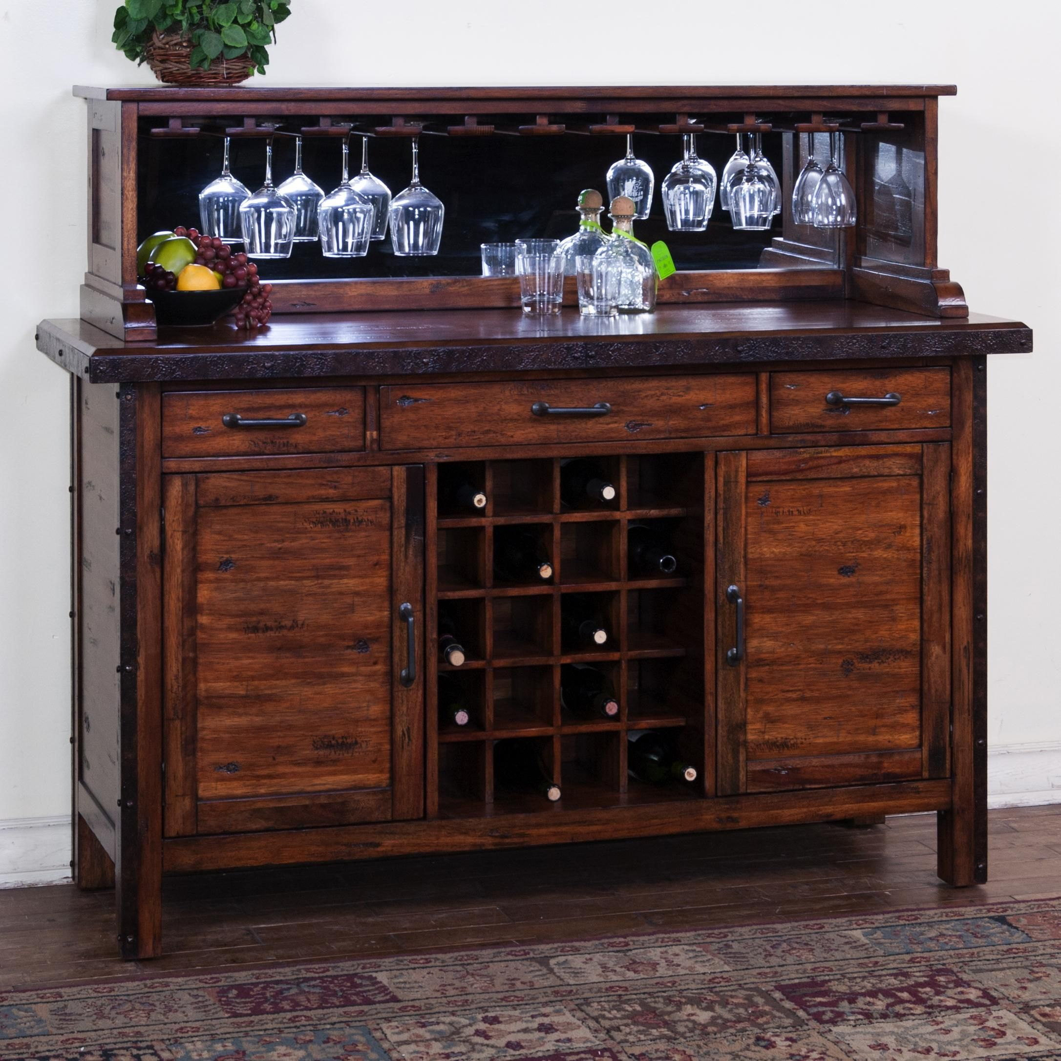 Rustic Server With Wine Rack Mirrored Hutch