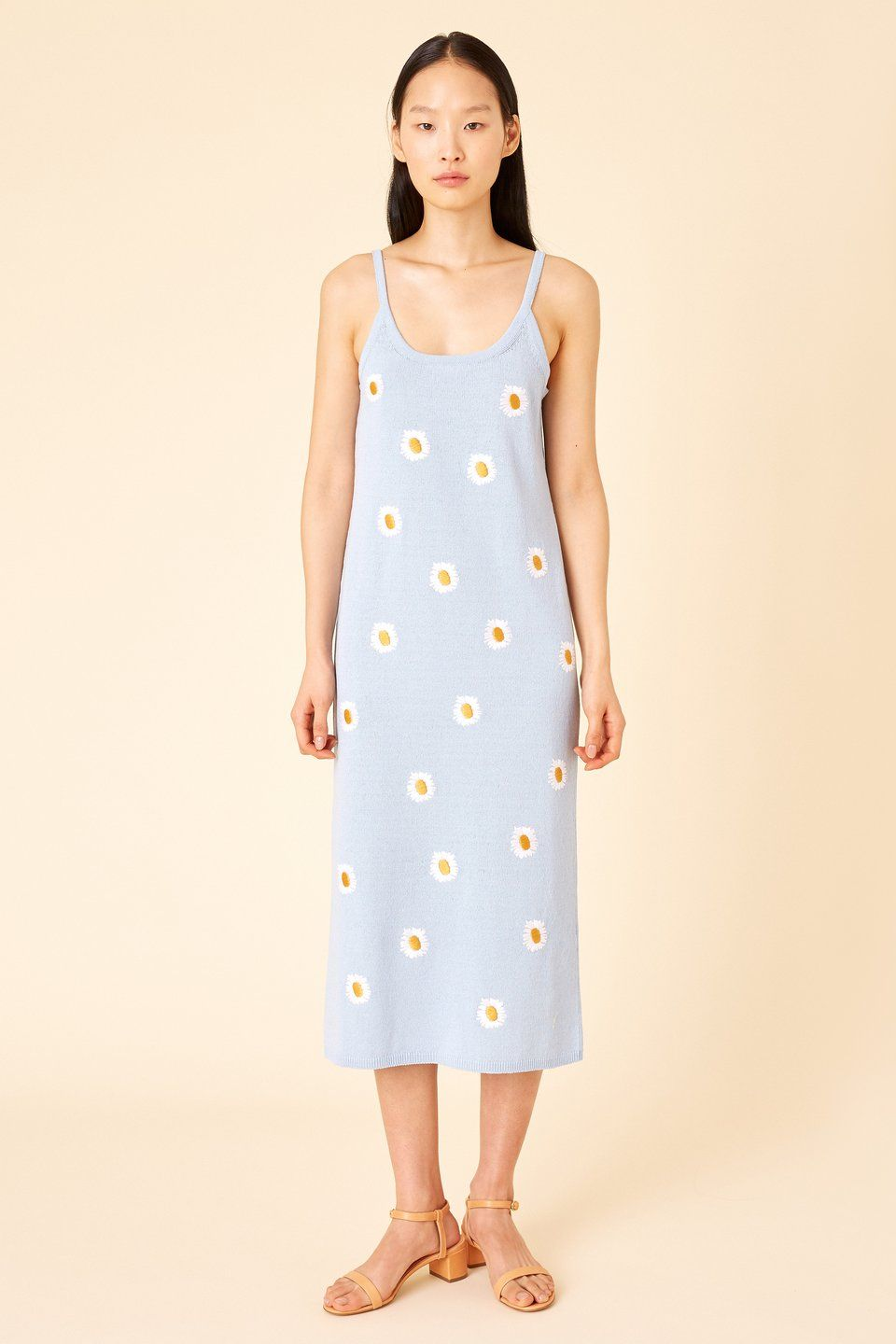 0150b9650d65 Italian daisy embroidered linen cotton blend sky blue knit slip dress. Scoop  neckline with thin straps. (1 of 6)
