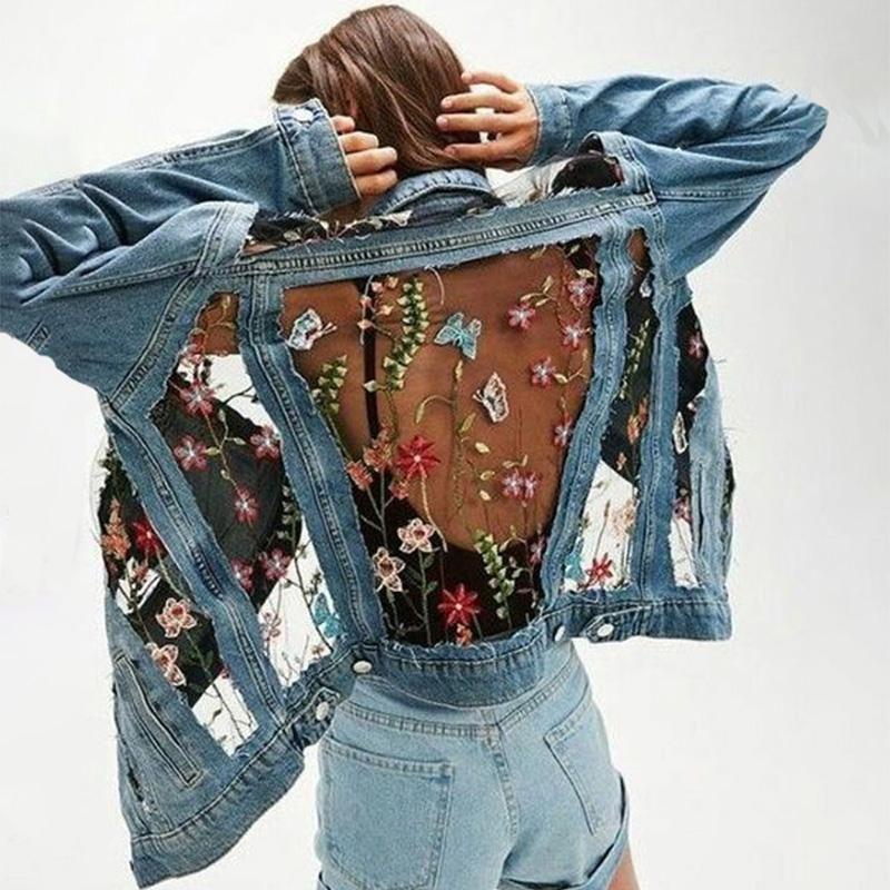 Fashion Embroidered Lace Stitching Denim Jacket