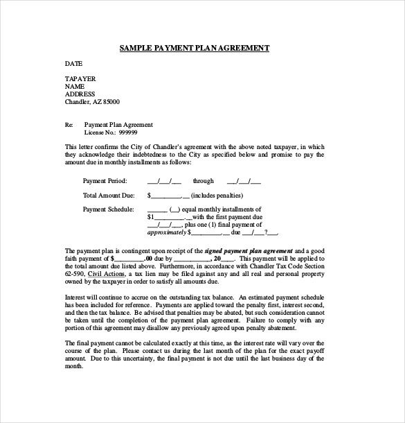Sample Payment Plan Agreement Template Free Download Business