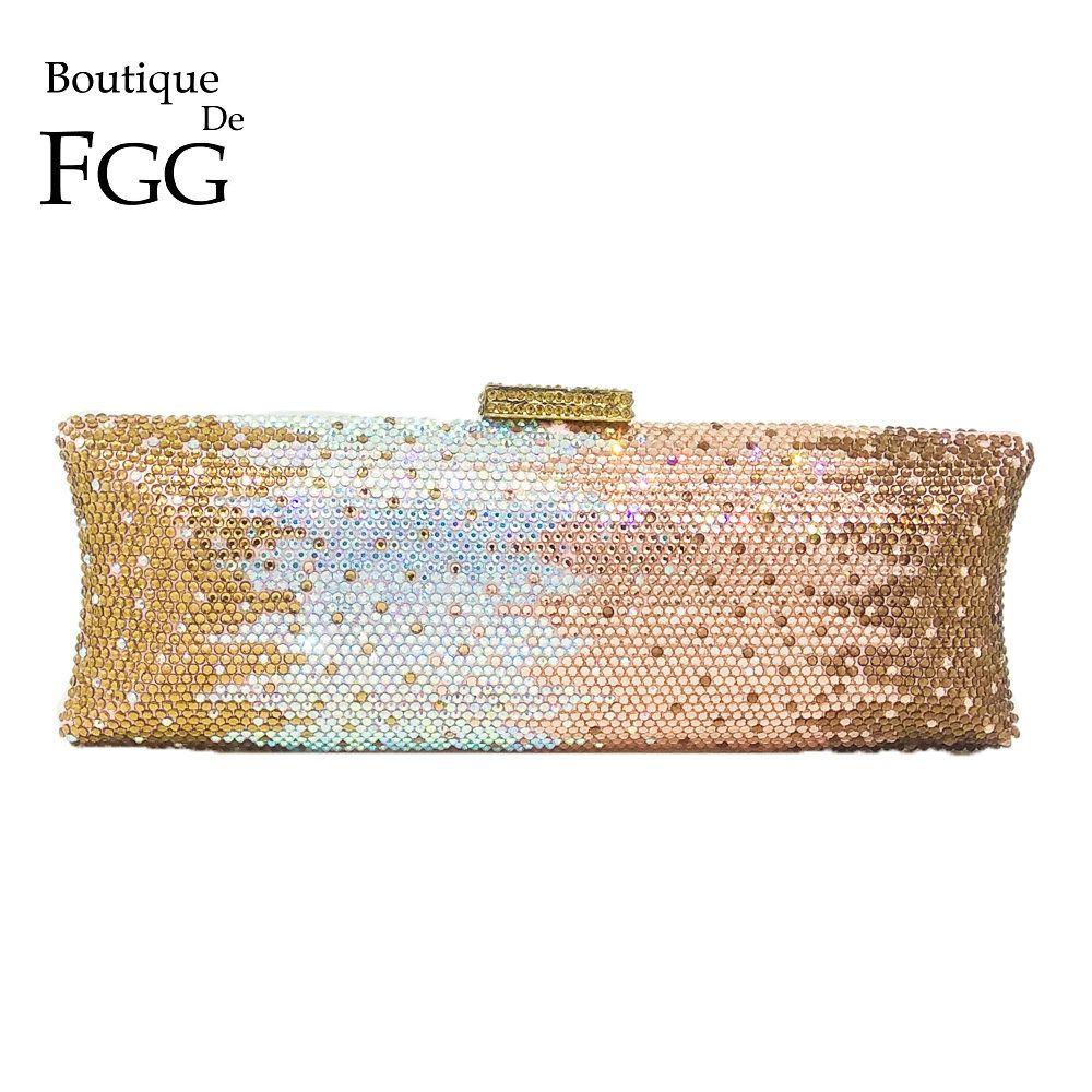 7204ea96698b Boutique De FGG Multi Champagne Women Crystal Bag Evening Purse Metal  Minaudiere Clutches Wedding Party Bridal Diamond Handbag Review