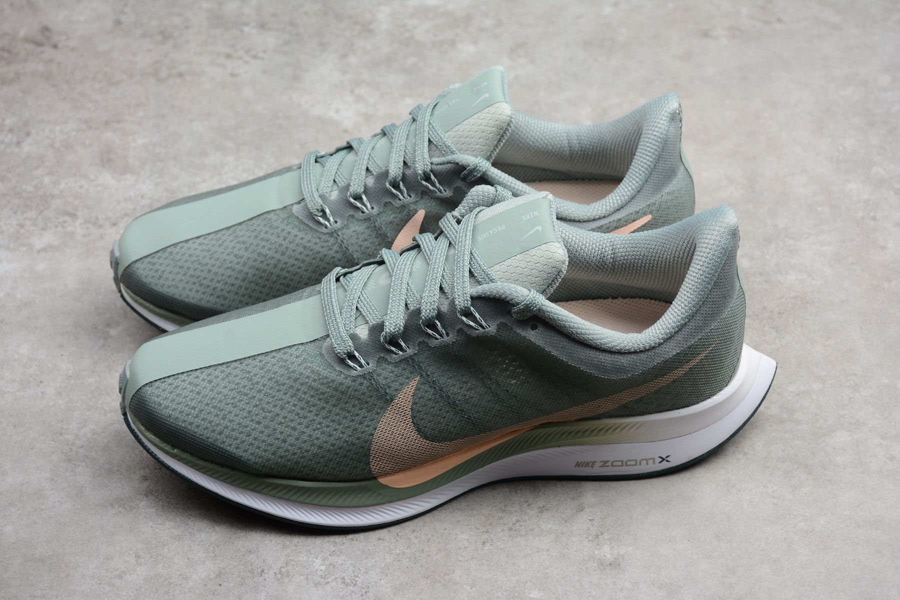 Nike Zoom Grey And Green Nike Zoom Pegasus 35 Turbo Mica Green Women S Running Shoes