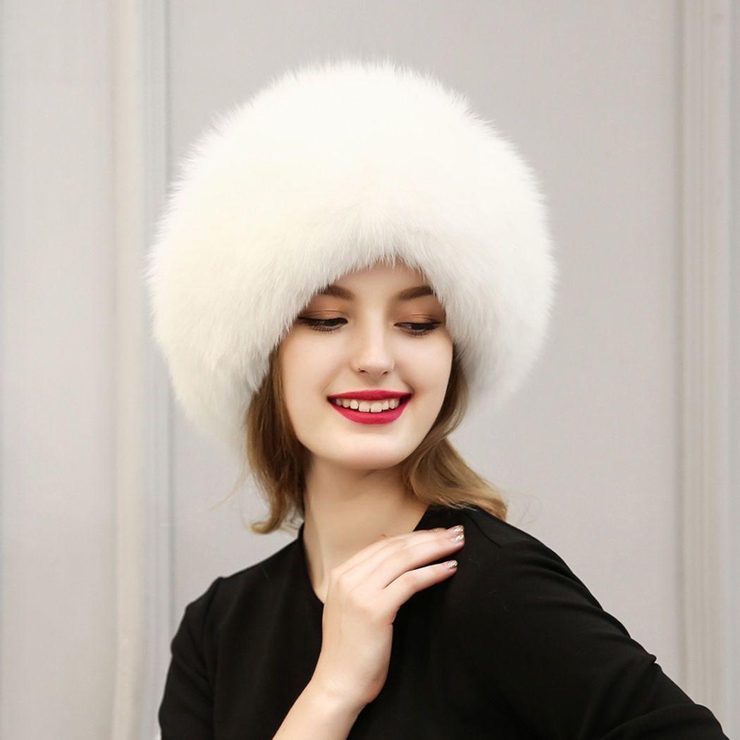 2b3aba95eb2 Winter Women Lady Faux Fox Fur Cossack Style Russian Winter Hats Warm Cap  Hat