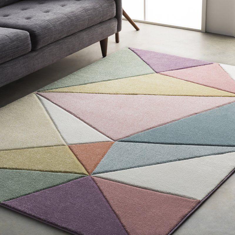 Cheeseman Modern Carved Geometric Pink Purple Area Rug En 2020