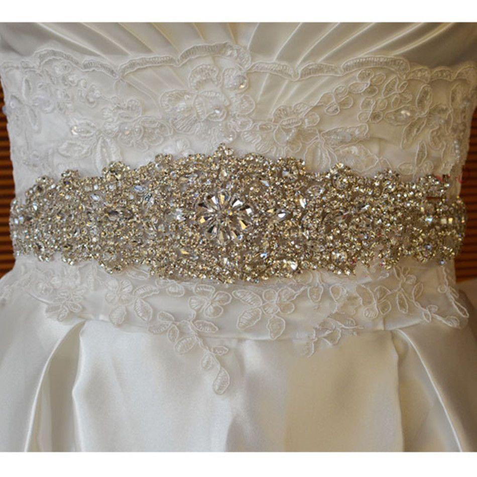 Bridal Dress Silver Crystal Rhinestone Beaded White Ribbon Sash Belt