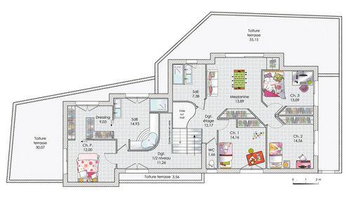 Une maison sur trois niveaux