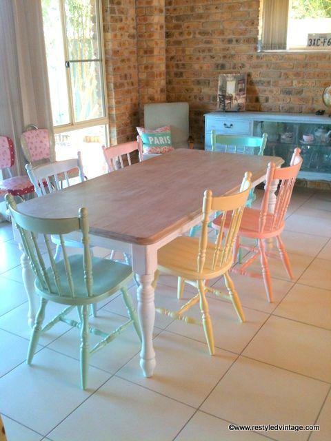 Restyled Vintage Rainbow Pastels Dining Suite Home Kitchens Furniture Kitchen Decor