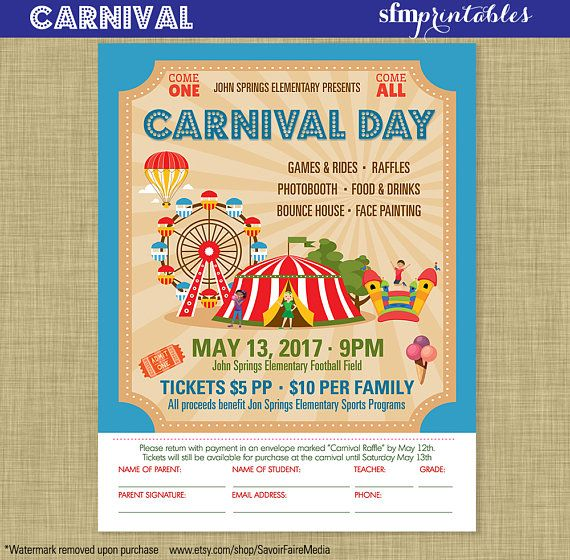 Carnival Flyer Invitation Postcard Poster Template Church School
