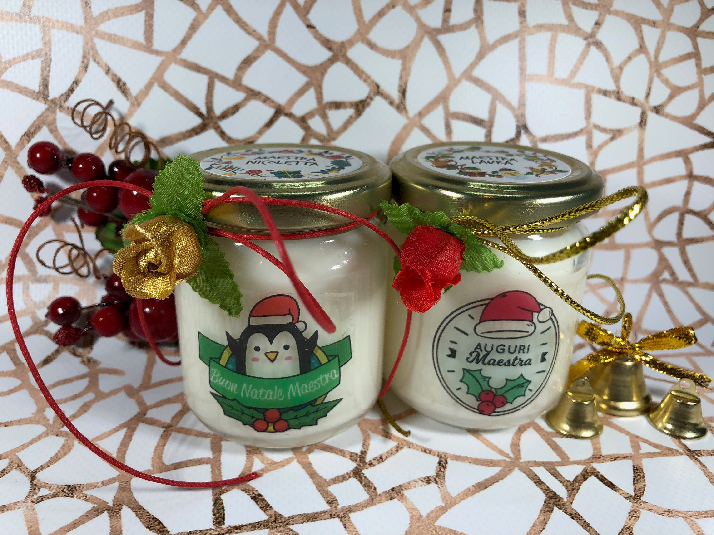 Buon Natale Maestra 2 vasetti con candele di cera di soia e oli