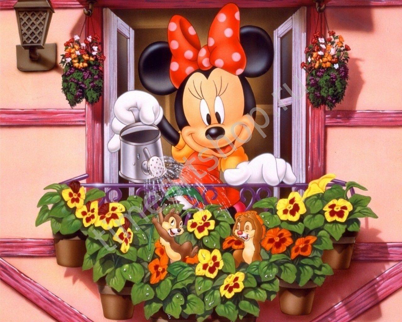 Мини Маус поливает цветочки, картины раскраски по номерам ...