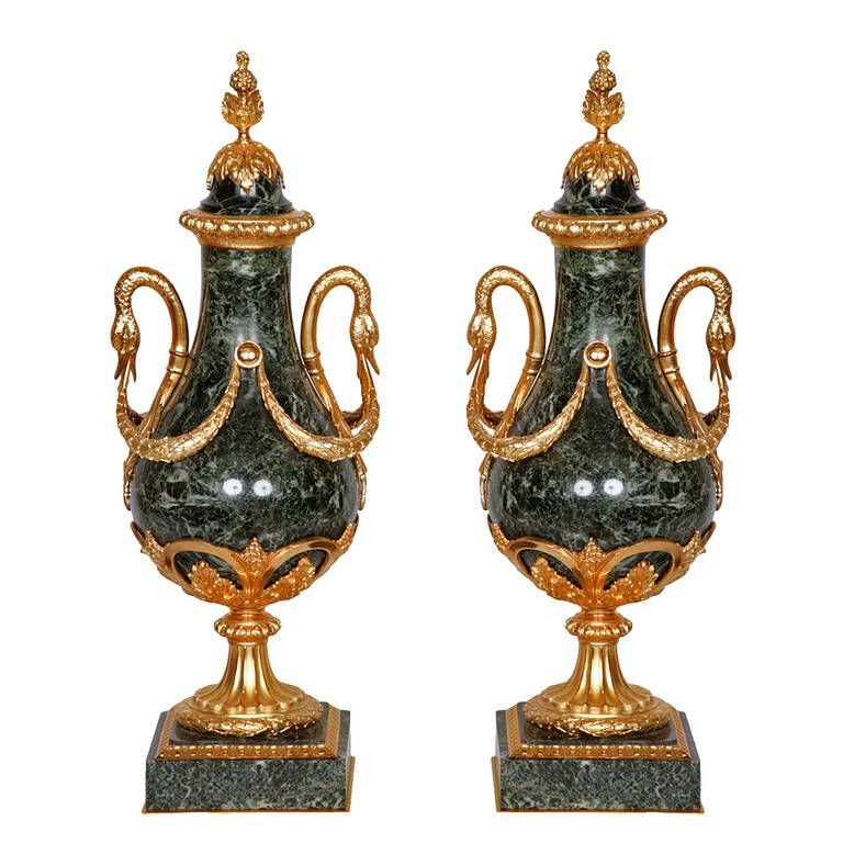 Pair of Ormolu-Mounted 19TH century Green Marble Vases   From a unique collection of antique and modern vases at https://www.1stdibs.com/furniture/more-furniture-collectibles/vases/