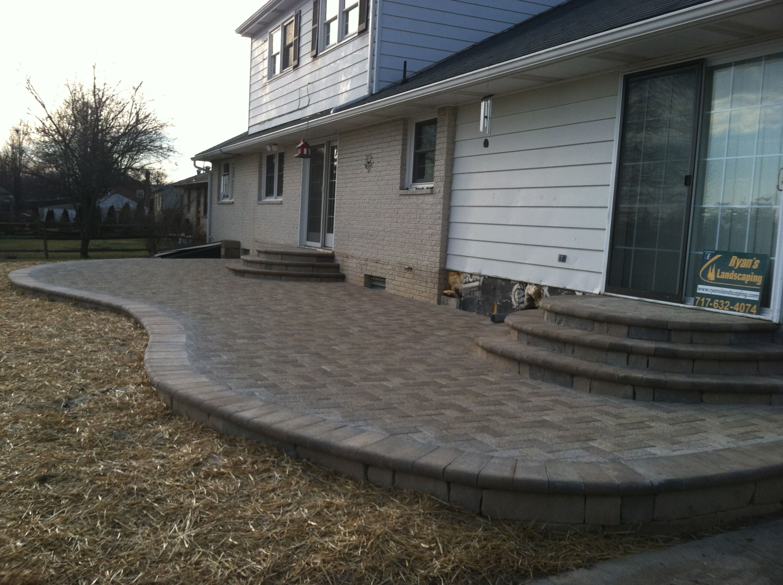 Elevated Hanover Paver Patio Installation with Rounded Steps. & Elevated Hanover Paver Patio Installation with Rounded Steps ...