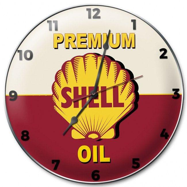 Shell Premium Gas Metal Wall Clock Sign 14 X 14 Inch American Made Vintage Style Retro Garage Art Shl187 By Homedecorgaragear Clock Wall Clock Metal Wall Clock