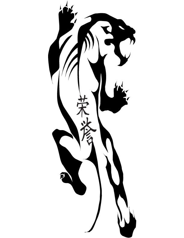 Tribal panther with chinese hieroglyphs tattoo design by pimart #hieroglyphicstattoo