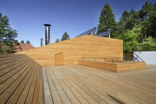 Fully garden orientation driveway slope wood cladding coat for Flat pack garden decking