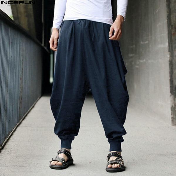 GenericMen Elastic Waist Casual Baggy Jogger Loose Harem Pants