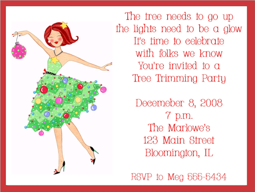 Girls Christmas Party Invitations