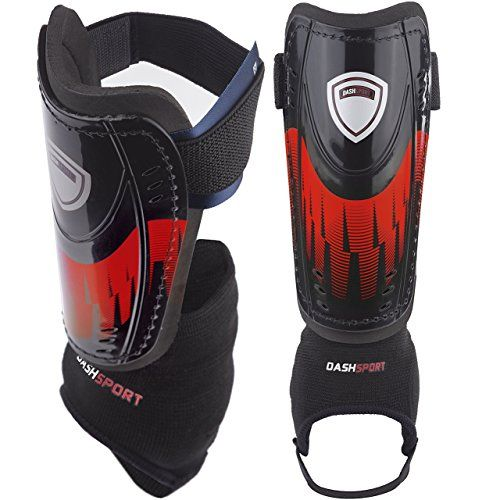 9d5ca3ec5a9d DashSport Soccer Shin Guards -Youth Sizes Best Kids Soccer Equipment with  Ankle Sleeves - Great for Boys and Girls