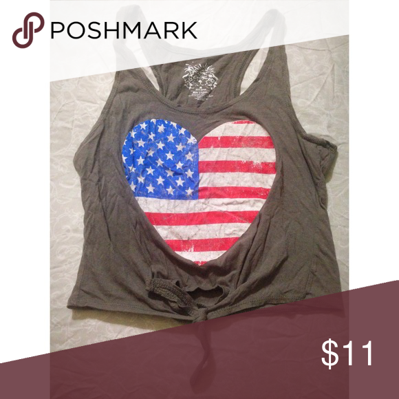 OnFire Heart American Flag Crop Tie-Front Tank Top On Fire Heart American Flag Crop Tie-Front Tank Top • 100% cotton • gray tank with heart shape American flag in front • medium  ✨Any Questions Please don't be afraid to ask✨ Tops Tank Tops