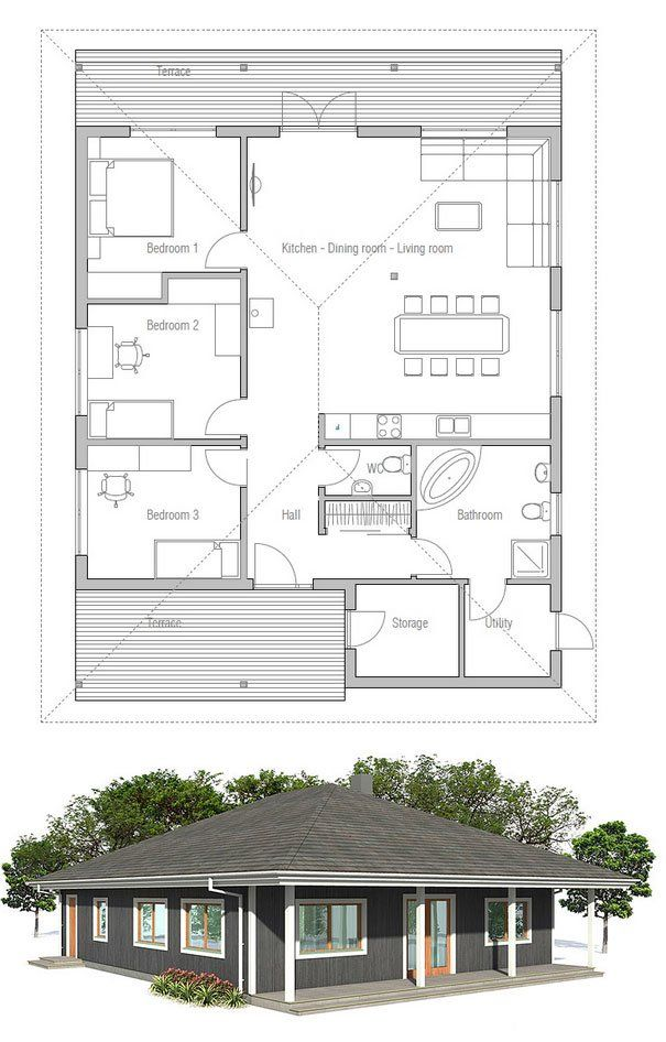 Small Home Plan With Covered Terrace Three Bedrooms