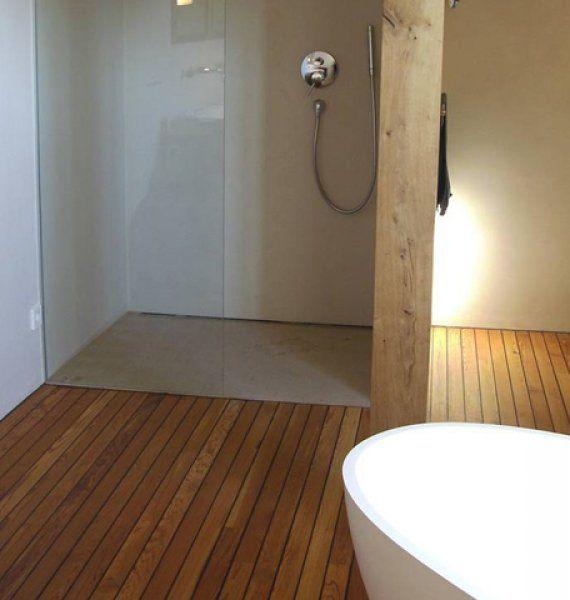 Parkett im Bad - Massivholzdielen Eiche 22 mm geseift - Babschanik - parkett für badezimmer