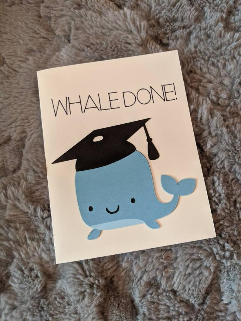 Photo of Graduation Card – Whale Done – Animal Pun Greeting Card – Well Done Card