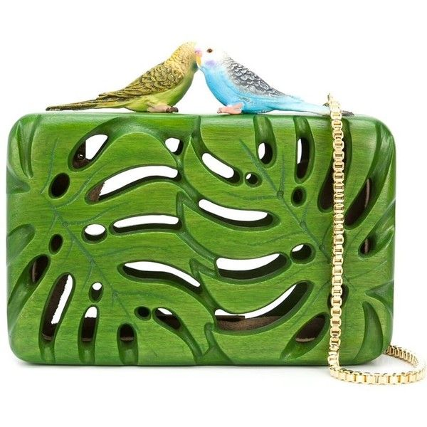 Sarah's Bag The Adored Clutch (67,515 INR) ❤ liked on Polyvore featuring bags, handbags, clutches, green, wooden purse, green handbags, green clutches, green purse and wood purse