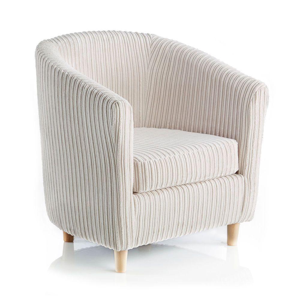 Wooden Tub Chair Cream Armchair Seat Foam Cushion Bedroom Furniture Living  Room