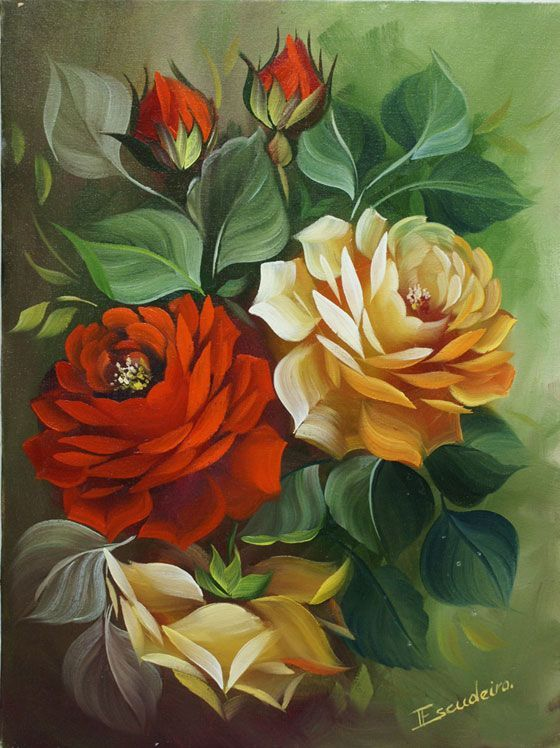 Rosas Amarelas E Vermelhas цветы Art Flower Art E Decoupage Vintage