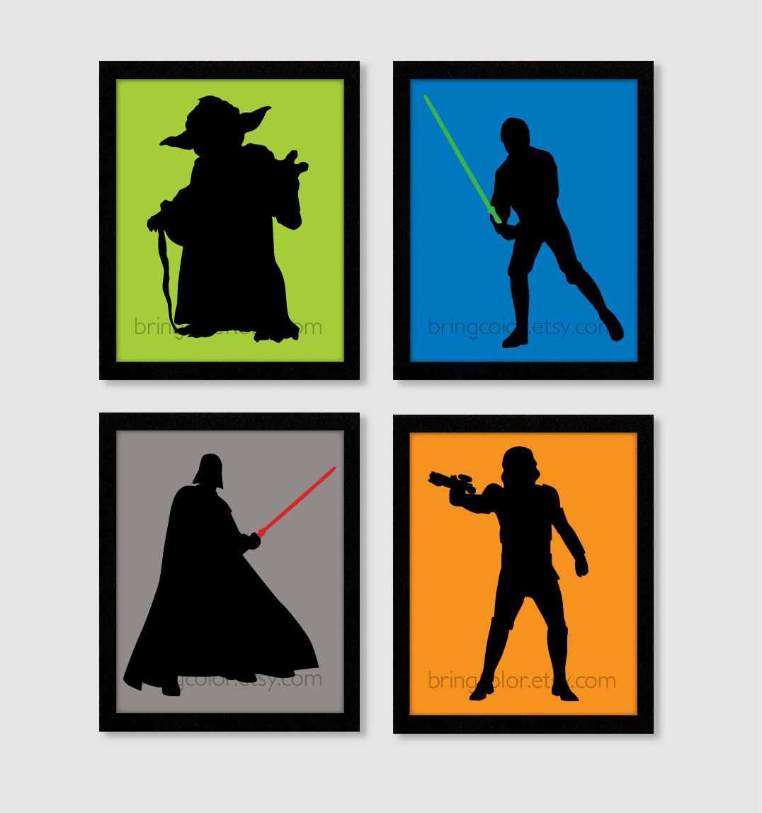 star wars characters silhouettes set of 4 8x10 digital wall art star wars characters silhouettes set of 4 8x10 digital wall art prints for home kids bedroom or nursery