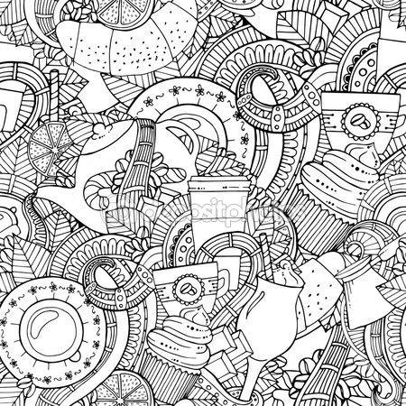Café y té doodle fondo de vector con paisley. Zentangle sin fisuras ...