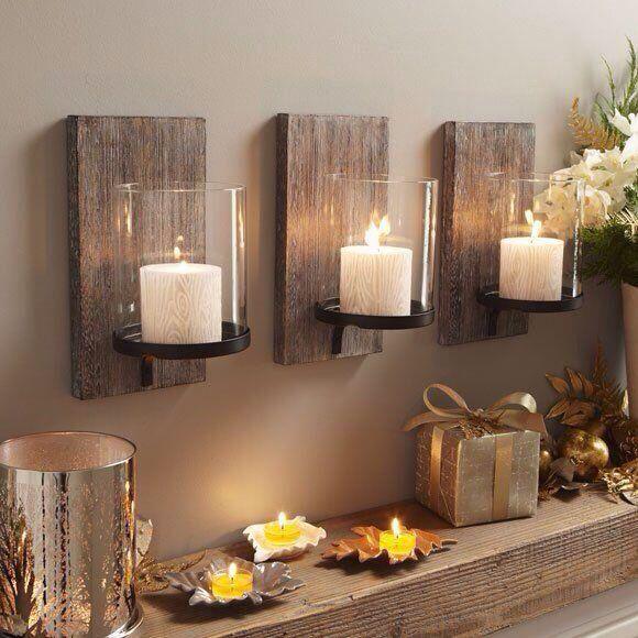 DIY Wood Backed Candle Holder Trio Set