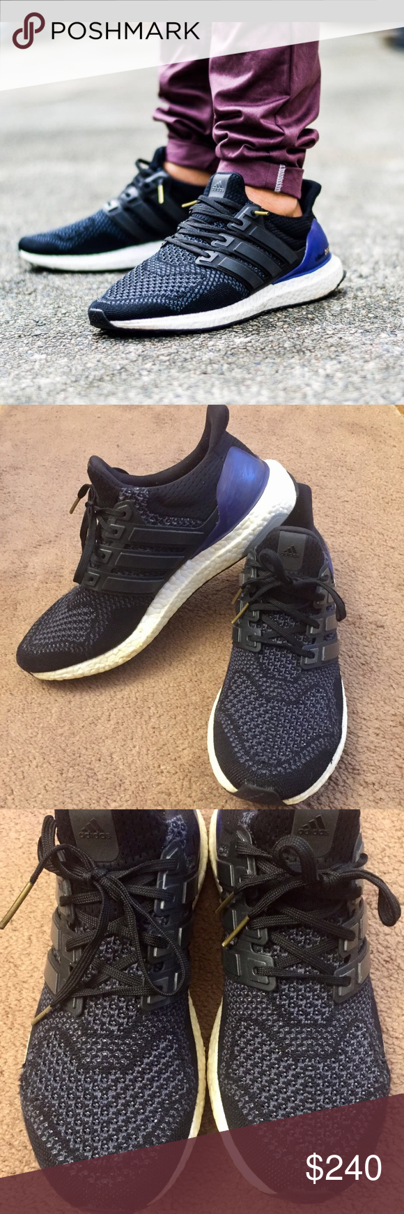 1121d3a5d4b68 Adidas Ultra Boost 1.0 OG Black Purple Gold Kanye Pre-owned Adidas Ultra  Boost 1.0