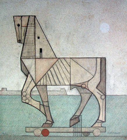 Caballo De Troya Horse Of Troy Printmaking Lithography By