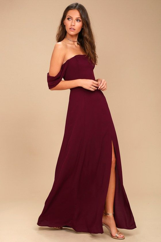 cfa235e1afa7 Veronique Burgundy Off-the-Shoulder Maxi Dress in 2019
